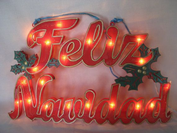 574d9294dc945 Vintage Feliz Navidad Lighted Sign by VintageByThePound on Etsy