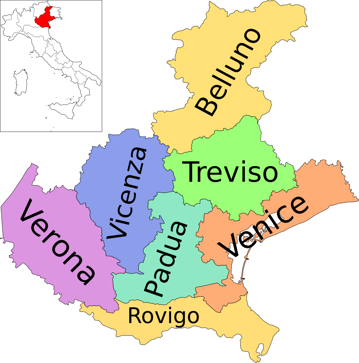 File:Map of region of Veneto, Italy, with provinces-en.svg ...