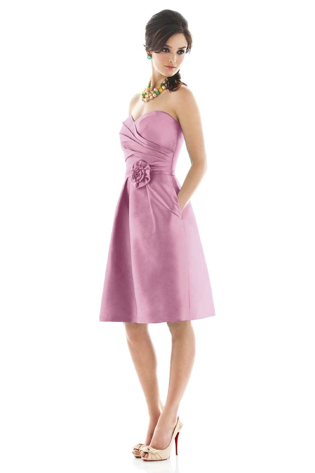 Lilac bridesmaid dresses buy cheap lilac satin fabulous alfred sung bridesmaids by dessy strapless cocktail length peau de soie dress with sweetheart pleated surplice bodice matching belt and flower detail at ombrellifo Choice Image