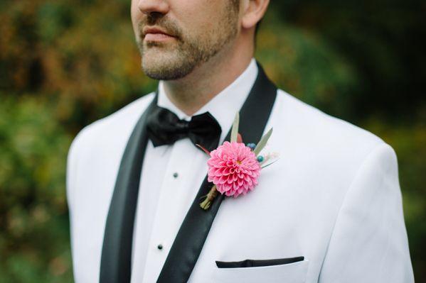 pink dahlia boutonniere with a crisp white tux with black trim. LOVE!  ~  we ❤ this! moncheribridals.com