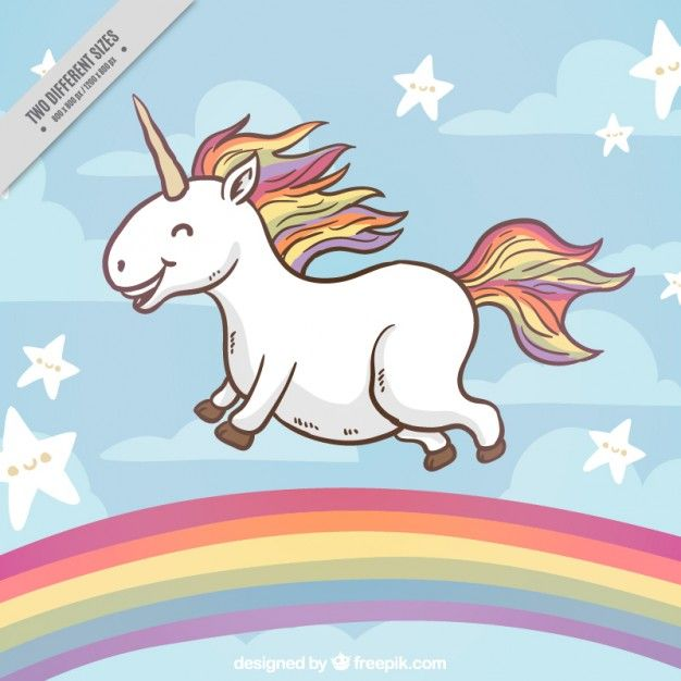Hy Unicorn On A Rainbow Background Free Vector