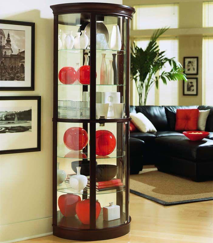 Pulaski Furniture Store: Chocolate Cherry II Half Round Curio Pulaski Furniture In