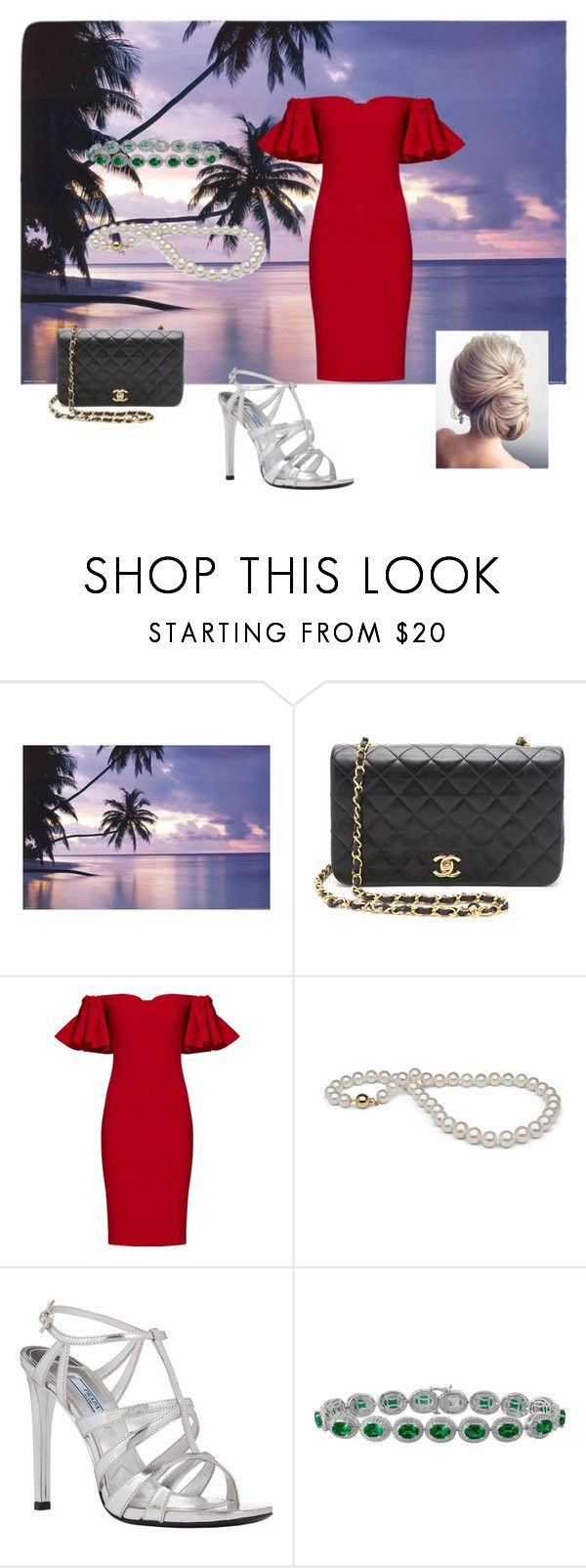 """""""Scarlet"""" by queen-of-asgard-160 ❤ liked on Polyvore featuring Badgley Mischka and Prada"""