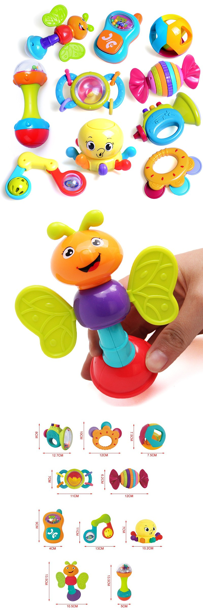 10 Pcs High Quality Colorful Baby Toy Rattles and Mobile Phone