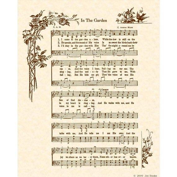Sheet Music Wall Art in the garden - hymn art christian home decor vintageverses sheet