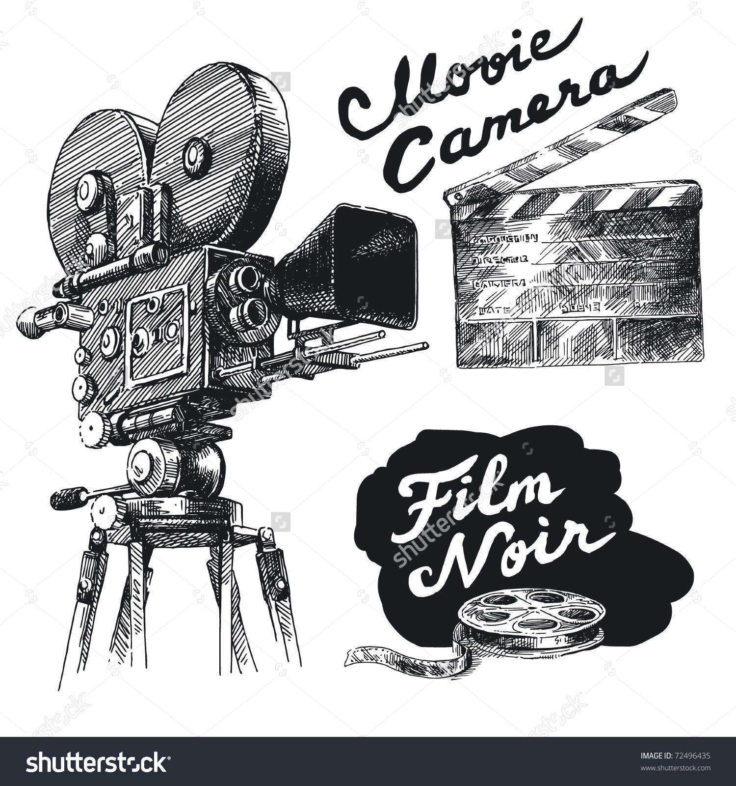 Stock Vector Movie Camera Original Hand Drawn Collection 72496435 Jpg 1500 1600 How To Draw Hands Movie Camera Original Hand Drawn