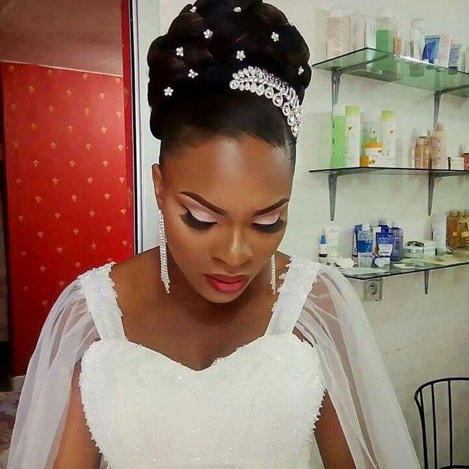 Elegant Wedding Hairstyle Idea: Beautiful Wedding Day Up Do Hair Style For Black Women