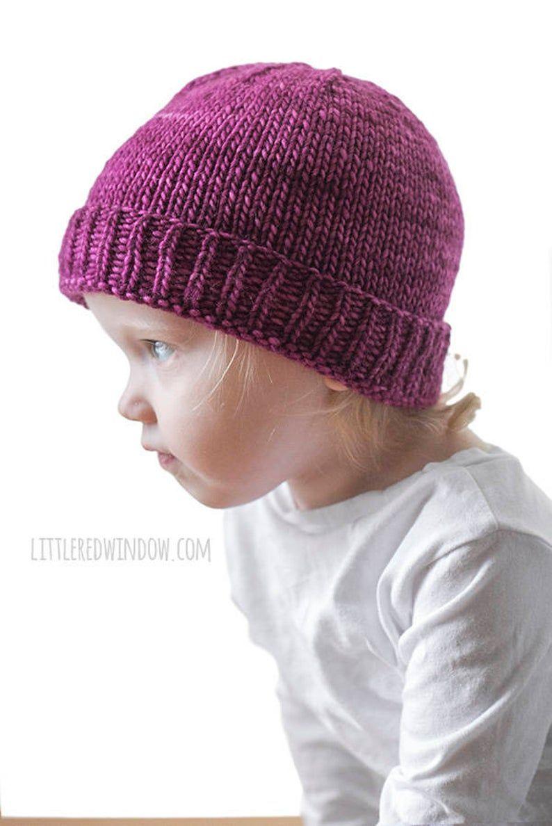 Easy Folded Brim Hat Knitting Pattern Brimmed Hat Pattern Etsy In 2021 Baby Hats Knitting Hat Knitting Patterns Baby Hat Knitting Pattern