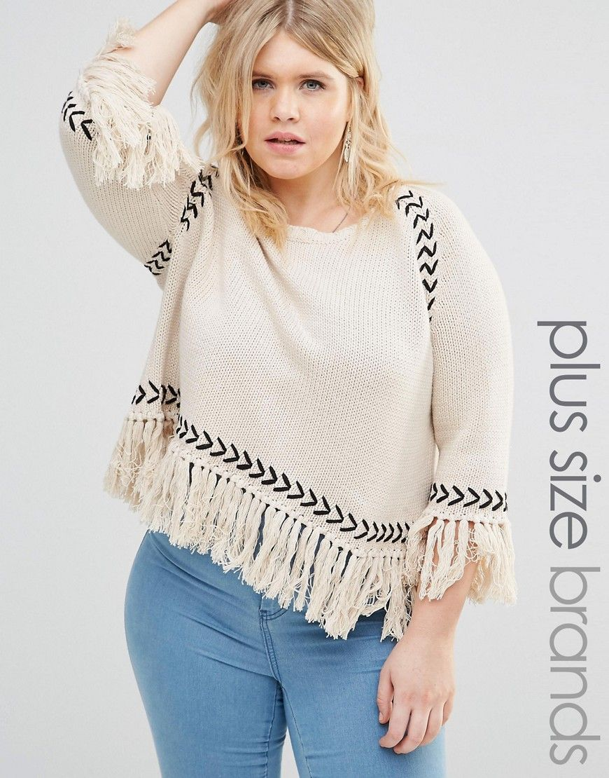 £29 Alice+&+You+Jumper+With+Contrast+Knit+Detail+And+Tassel+Hem