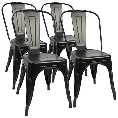 Walnew Metal Dining Chair Indoor Outdoor Use Stackable Classic Trattoria Chair Chic Dining Bistro Cafe Side Metal Chairs Set Of 4 Black Walmart Com In 2020 Metal Chairs Metal Dining Chairs Black