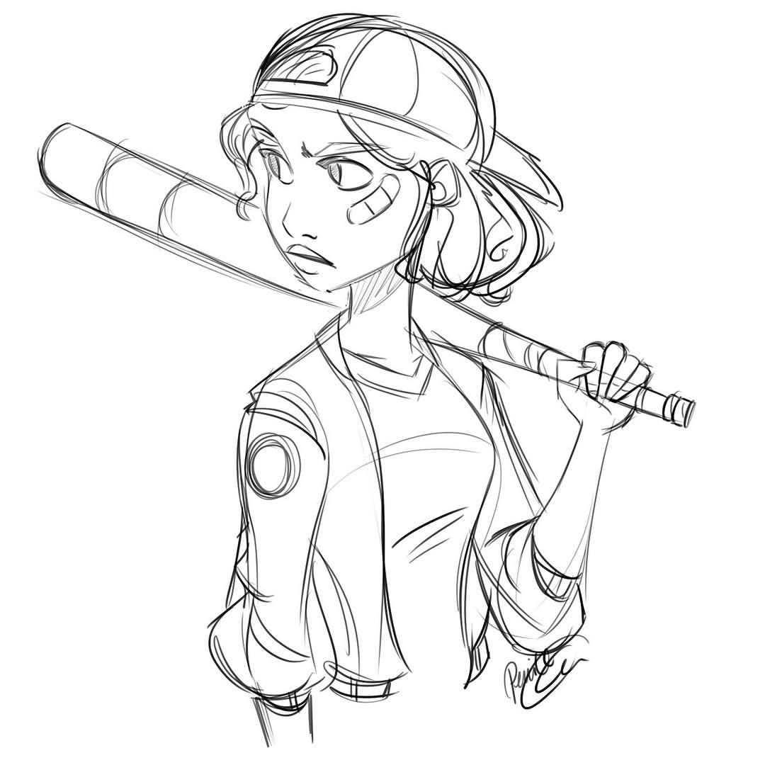 Pernilleoe A Baseball Inspired Doodle To End Another Workday Girlsinanimation Sketch Drawing Hipster Drawings Cartoon Drawings Girl Drawing Sketches