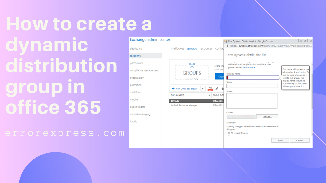 How To Create A Dynamic Distribution Group In Office 365 Office 365 System Administrator Dynamic