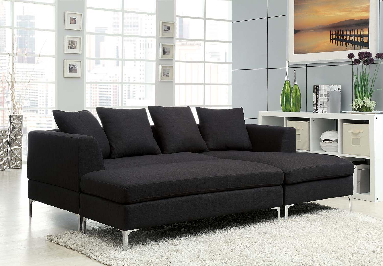 Homelegance Zola Sectional Sofa Set Black Linen Like