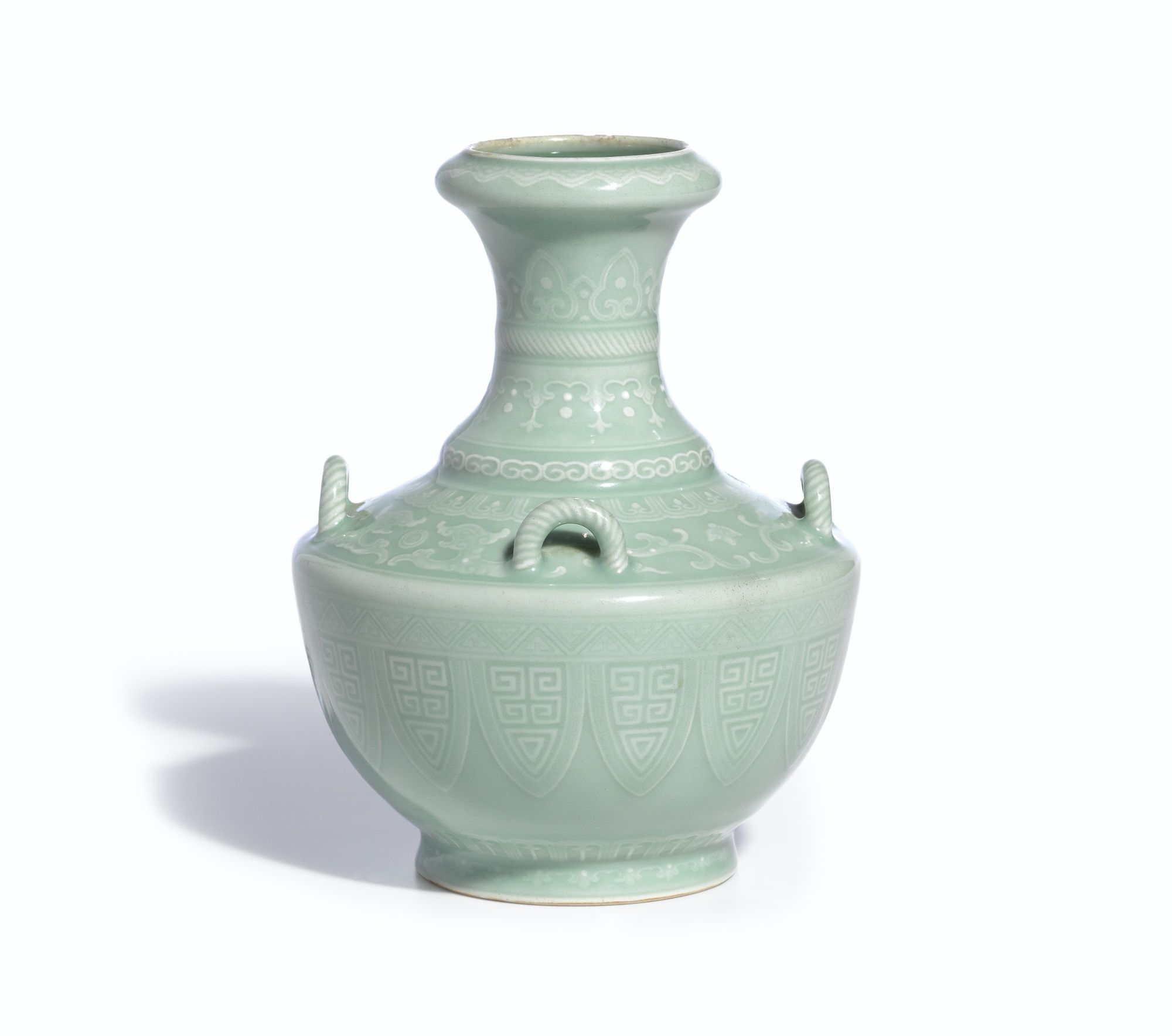 A small celadon-glazed handledvase, Sealmark and period of Qianlong