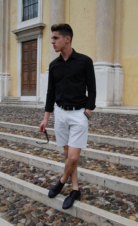 Men's Black Long Sleeve Shirt, Grey Shorts, Black Leather Derby ...