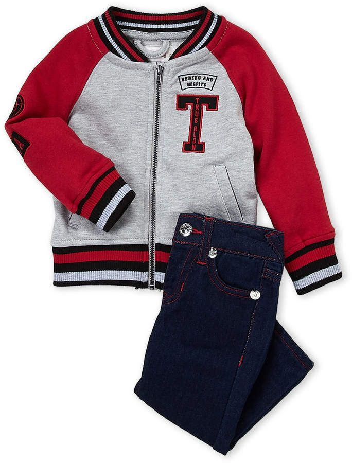 (Infant Boys) Two-Piece Varsity Jacket & Jeans Set ...