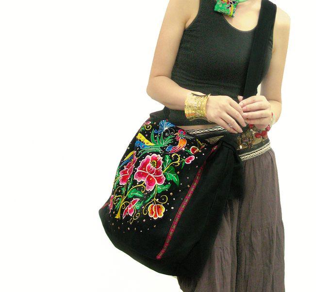 Haftowana Torba Etniczna Flower And Bird Bright Boho Torby Na Ramie Trending Fashion Bags