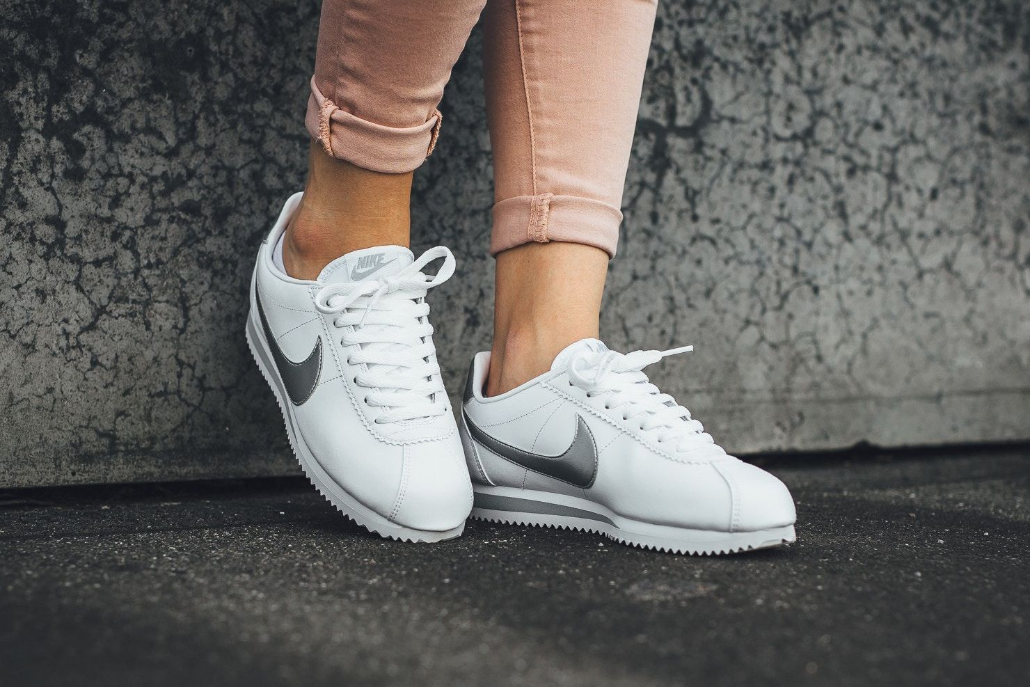 brand new 22cba 02abb A Silver Swoosh Shines on Nike's Classic Cortez Leather ...