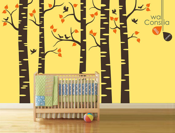 Baby Nursery Wall Decals Birch Trees Decal Tree By WallConsilia - Portal 2 wall decalsbest wall decals images on pinterest