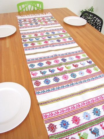 Superb Table Runner | Mexican Style | Handwoven On Traditional Backstrap Mayan  Technique. Liven Up Your