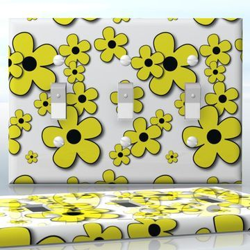 DIY Do It Yourself Home Decor - Easy to apply wall plate wraps | Raining Blossoms  Yellow flowers on white  wallplate skin sticker for 3 Gang Toggle LightSwitch | On SALE now only $5.95