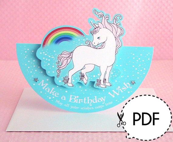 Unicorn Seesaw Birthday Card Printable Pdf Download Happy Birthday Cards Printable Birthday Card Printable Unicorn Birthday Cards