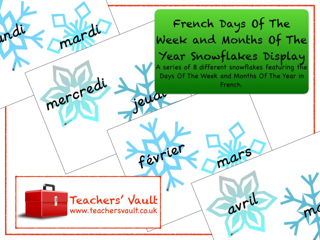 French Days Of The Week And Months Of The Year Snowflakes