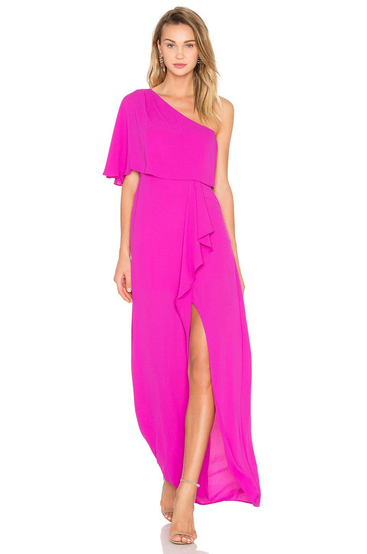 BCBGMAXAZRIA Secha One Shoulder Maxi Dress in Magenta | Gowns ...