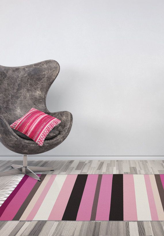 Handmade with love striped rug bohemian inspired by RugsNBags