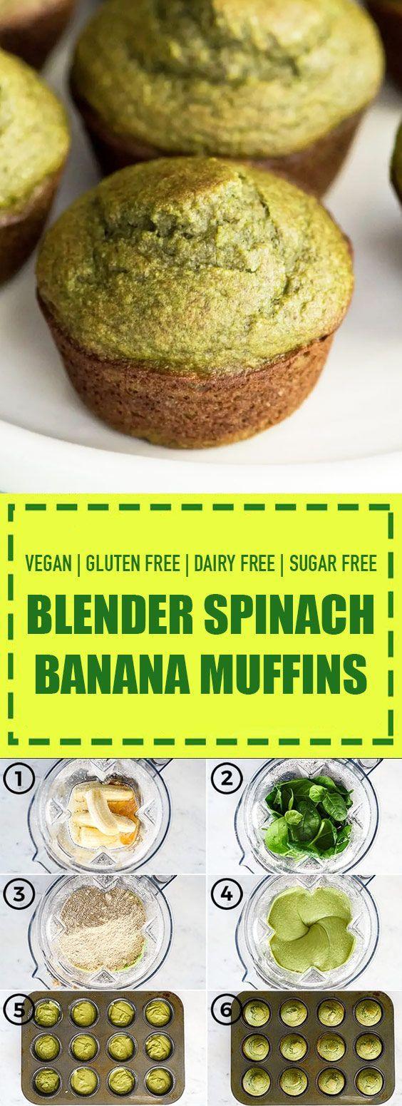 Glutenfreie zuckerfreie Spinat-Bananen-Muffins #sugarfreerecipes
