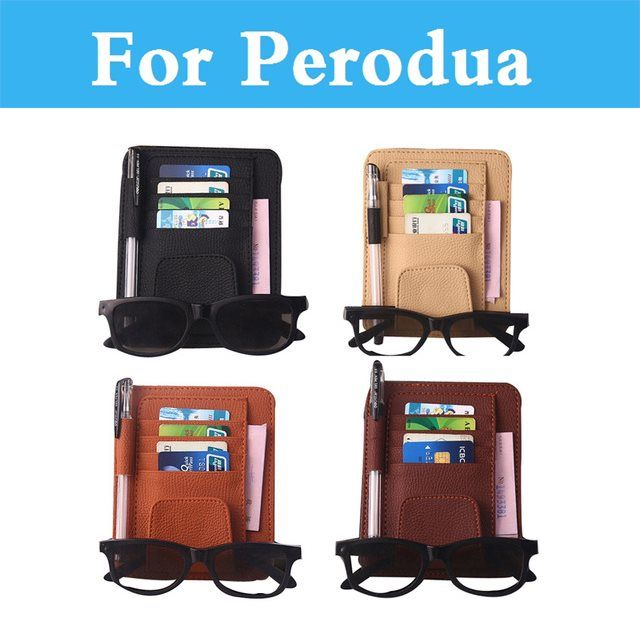 Car Sun Visor Organizer Card Pen Storage Bag Holder Pouch Case PU Leather Black