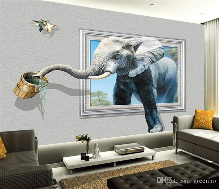 Creative photo wallpaper wall mural elephant animal for Elephant wall mural
