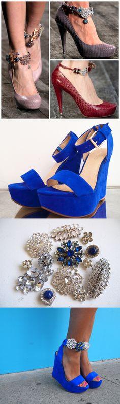 Tuunaa nilkkureiden tai korkokenkien remmit kauniilla rintakoruilla ja paljeteilla. Refashion your heels with brooches. 12 Fashionable DIY Ideas