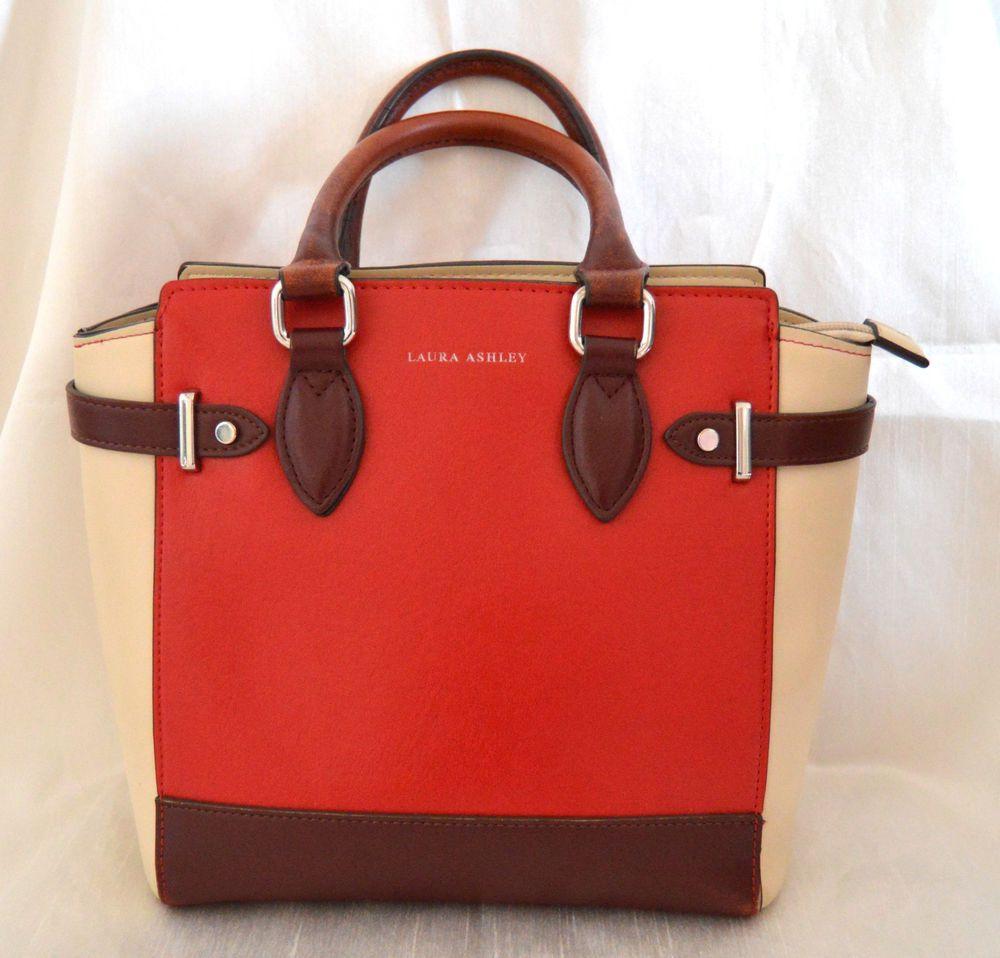 Laura Ashley Handbag Red Brown   Cream Stylish Bag 518f462713d9b
