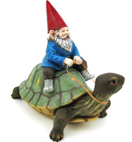 Gnome In Garden: Large Garden Gnome Riding Turtle Statue Patio Pool