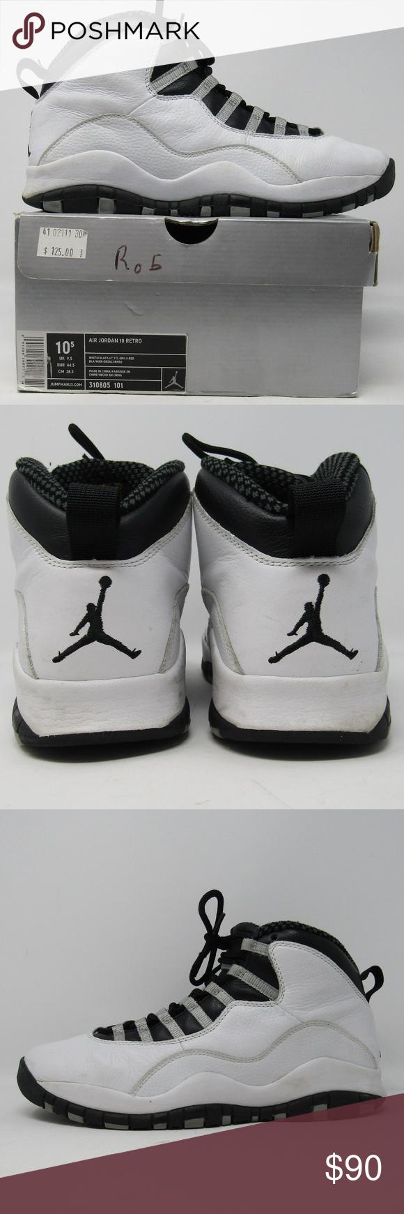 Air Jordan 10 Sz 10.5 White Black