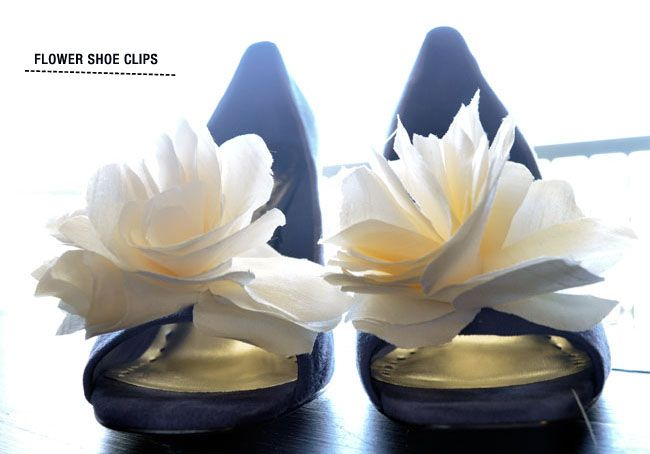 2 White Bow Clips for Shoes with Satin Flower Centre