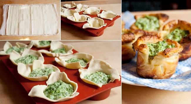 Spinach pastry cups