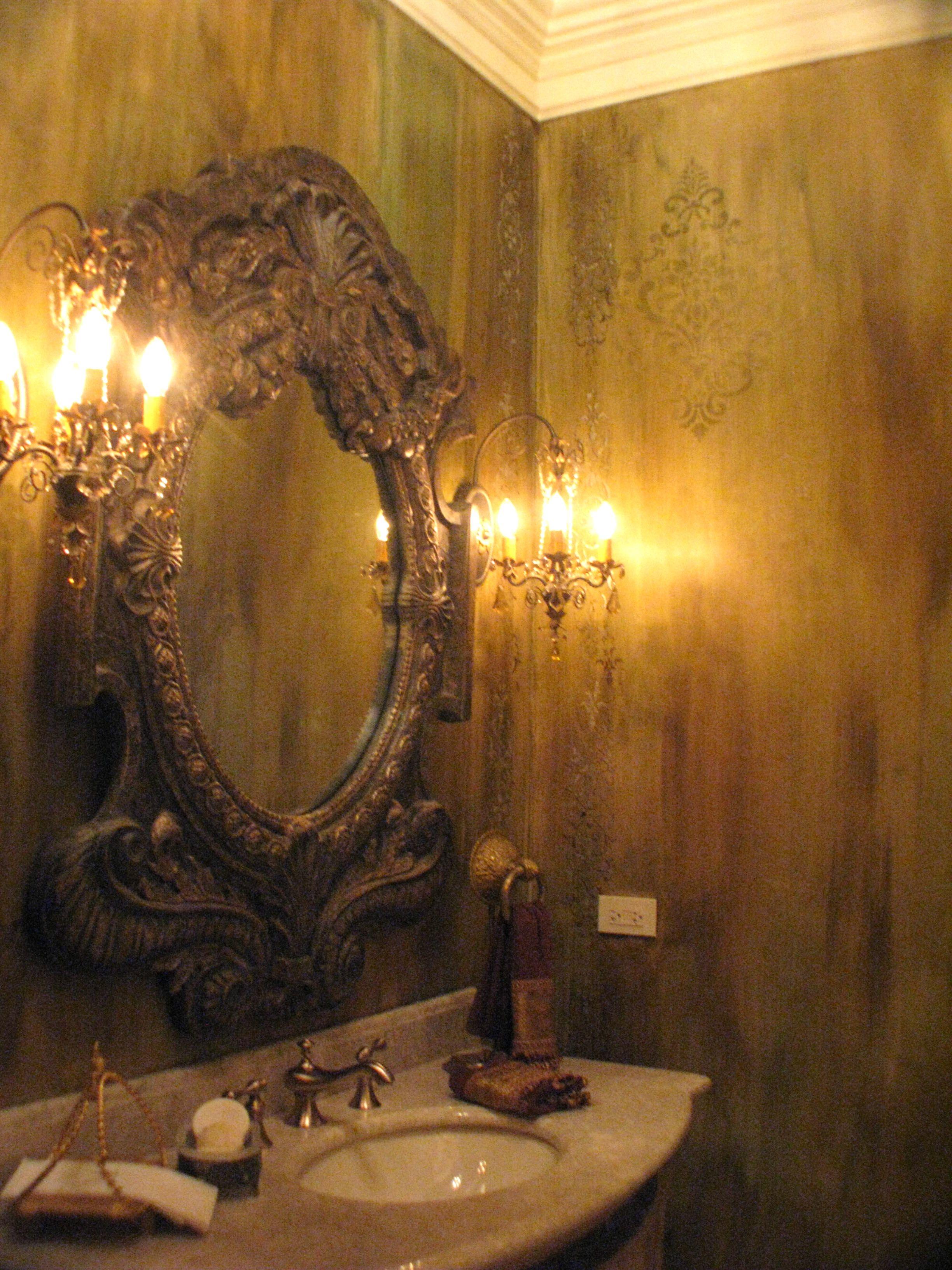 Stenciled Bath | Ornamental Cartouche Stencil | Project by Bonnie Lecat