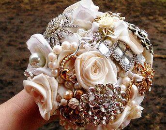 Brooch Wedding Bouquet Custom Vintage Bridal Classy 6