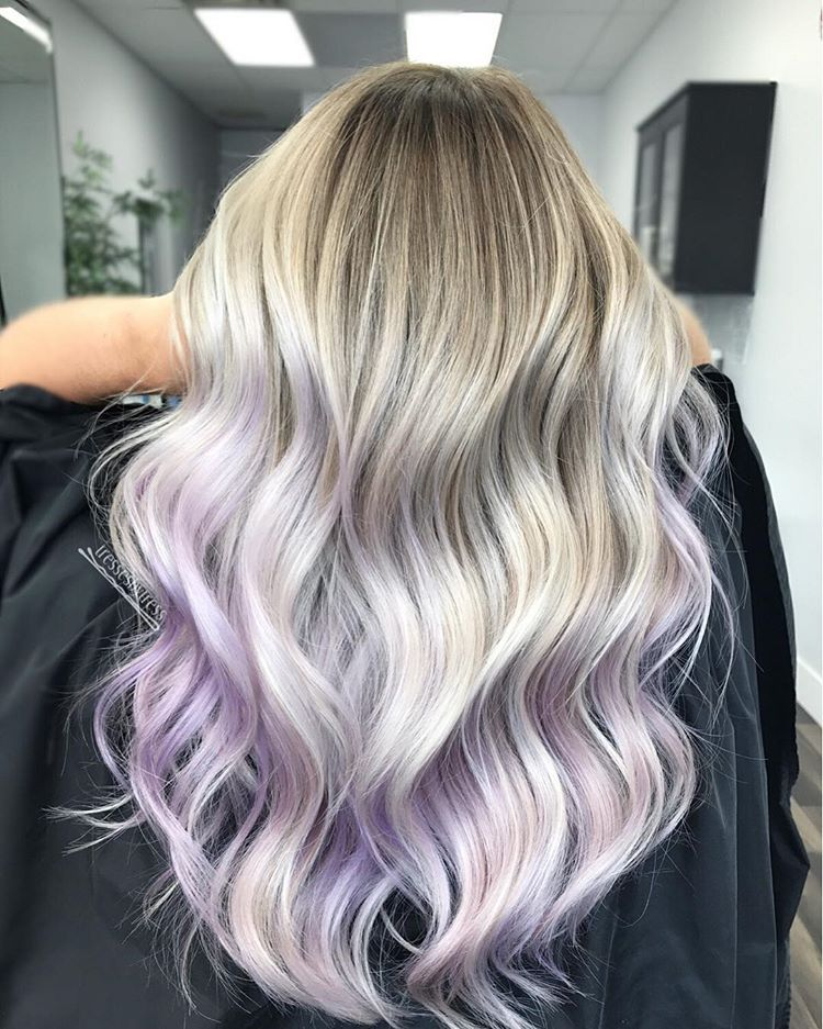 Lilac Love From All Over Highlights We Did A Low Maintenance Droproot Colormelt Into A Platinumbl Purple Blonde Hair Light Purple Hair Hair Highlights