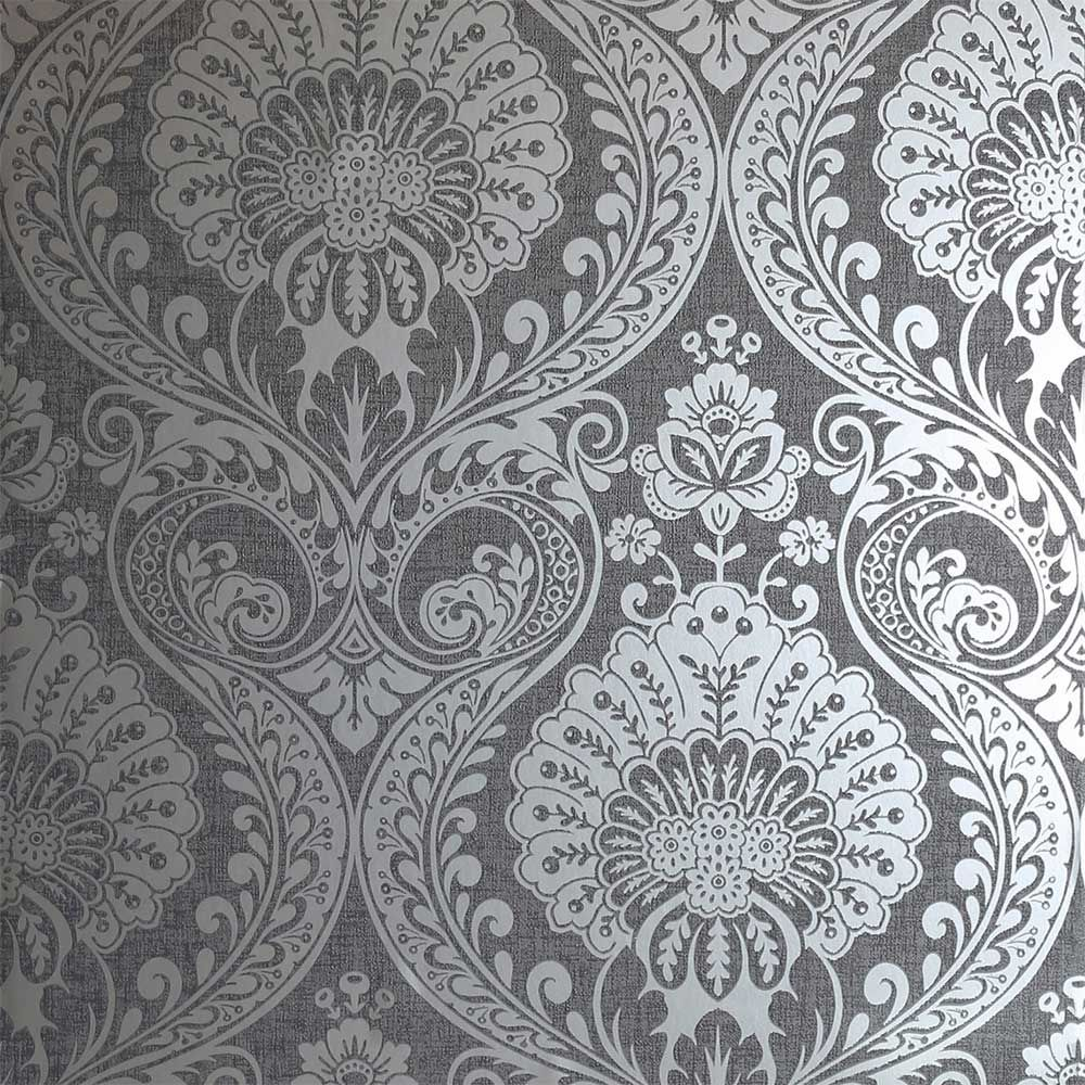Luxe Damask By Arthouse Gunmetal Wallpaper 910307 In 2020