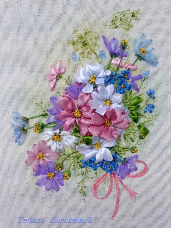 Bouquet Of Cosmo Picture Made Of Silk Ribbon Embroidery Technique