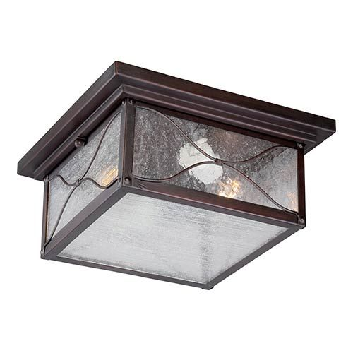 Nuvo Lighting Vega Clic Bronze Two Light Outdoor Flush Mount With Clear Seeded Gl Mounts And Bulbs