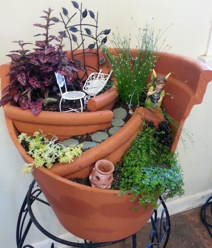 Incredible Broken Pot Ideas Recycle Your Garden: Broken Flower Pot