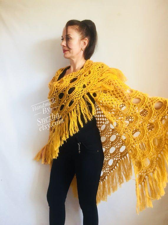 e37687a13f0f0f Mustard 50 COLORS Crochet Shawl Wraps Triangle Fringe Granny Shawl Long  Handknit Woman Bohemian Fest