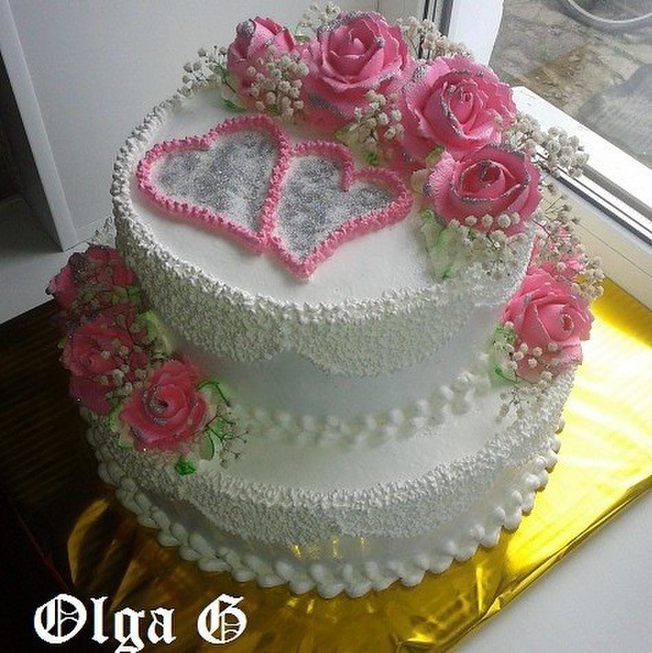 Dort šlehačkový * svatební - zdobený růžemi a srdíčky ♥ | ♥ DORTY ...