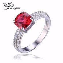 JewelryPalace Coussin 2.6ct Créé Rouge Ruby Solitaire Bague de Fiançailles Pour Les Femmes Véritable 925 Bijoux En Argent Sterling Beaux Anneau(China (Mainland))