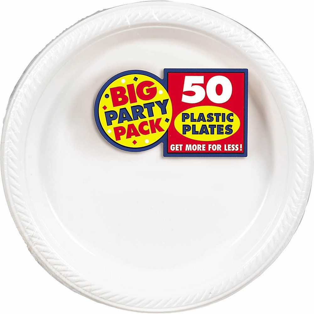 Amscan Plastic Plates 10 1 4 Frosty White 50 Plates Per Big