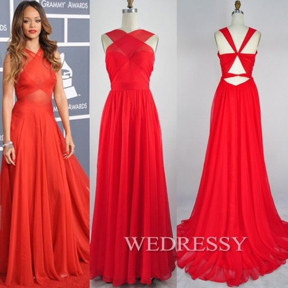 Rihanna Red Dress This Long Sheer Is A Custom Look Alike With Built In Bra It Has Never Been Worn And Good Condition Dresses